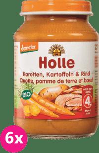 6x HOLLE Bio Mrkev, brambor a hovězí maso - masový příkrm, 190g