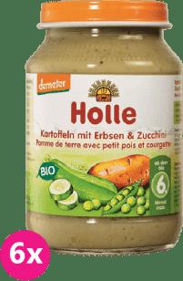 6x HOLLE Bio Zemiakov, hrášok a cuketa - zeleninový príkrm, 190g