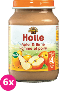 6x HOLLE Bio Jablko a hrušky - ovocný príkrm, 190g