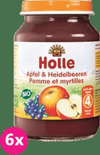 6x HOLLE Bio Jablko a čučoriedka - ovocný príkrm, 190g