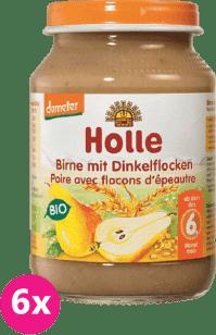 6x HOLLE Bio Hruška a špaldové vločky - ovocný příkrm, 190g