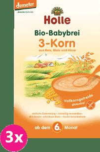 3x HOLLE Bio 3 - druhy zrna kaša, 250g