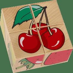 PILCH Skladačka - ovocie, 4 kocky