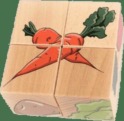 PILCH Skládačka – zelenina, 4 kostky