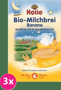 3x HOLLE Bio Banánová mliečna kaša, 250g