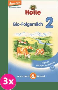 3x HOLLE Bio pokračovacia mliečna dojčenská výživa 2, 600g