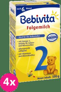 4x BEBIVITA 2 (500g) - pokračovací mléčná kojenecká výživa