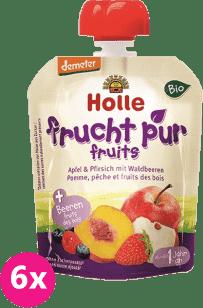 6x HOLLE Bio ovocné pyré jablko, broskyňa s lesnými plodmi, 90g