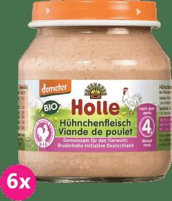 6x HOLLE Bio Kuřecí maso - masový příkrm, 125g