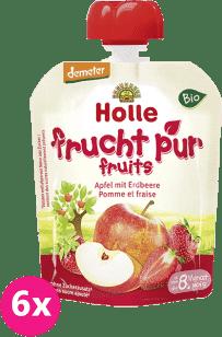 6x HOLLE Bio ovocné pyré jablko s jahodami, 90g