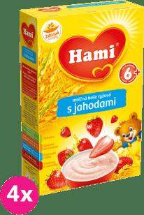 4x HAMI mliečna kaša ryžová s jahodami 225 g