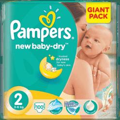 PAMPERS New Baby-dry MINI 2 (3-6kg) 100 szt. GIANT PACK – pieluszki jednorazowe