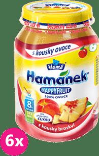 6x HAMÁNEK HappyFruit 100% broskyňa s kúskami (190g)