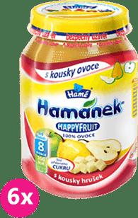 6x HAMÁNEK HappyFruit 100% s kousky hrušek (190g)