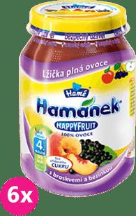 6x HAMÁNEK HappyFruit 100% S broskvemi a bezinkou