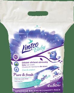 LINTEO Baby vlhčené obrúsky Pure & Fresh pack 4x80ks (320 ks)