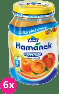 6x HAMÁNEK HappyFruit 100% s broskvemi a meruňkou, (190g)