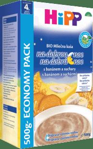 HIPP BIO Na dobrou noc banánová se suchary (500 g) - mléčnoobilná kaše
