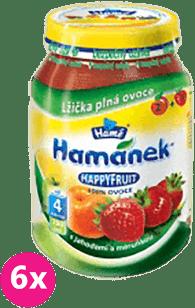 6x HAMÁNEK HappyFruit 100% S jahodou a meruňkou, (190g)