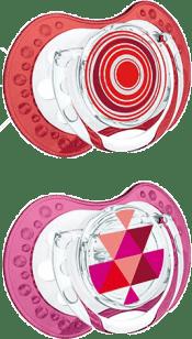 LOVI Cumlík silikónové dynamické LOVI ETNO 0-3m 2ks - červené