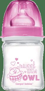 CANPOL Babies Fľaša EasyStart PURE glass 120 ml ružová