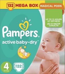PAMPERS Active Baby 4 MAXI 132ks (7-14 kg) MEGA Box - jednorázové pleny