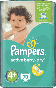 PAMPERS Active Baby 4+ MAXIPLUS 70ks (9-16kg) GIANT PACK - jednorazové plienky