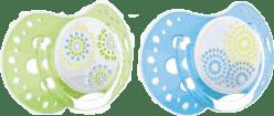 LOVI Šidítko silikonové dynamické TRENDY 3-6m 2ks modrá/zelená