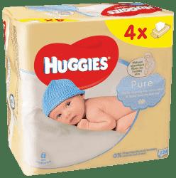 4x HUGGIES® Quatro Pack Pure 56 szt. - chusteczki nawilżane