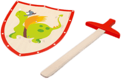 SCRATCH Drevený meč a štít Zelený drak
