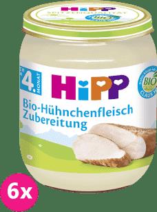6x HIPP BIO kuracie mäso (125 g) - masový príkrm