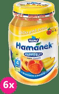 6x HAMÁNEK HappyFruit 100% s broskvemi a banánem (190g)
