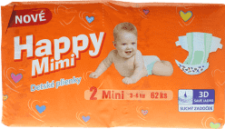 HAPPY MIMI detské plienky Standard Mini 62 ks