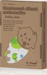 T-TOMI Bambusová zavinovačka, 1 kus, zelení sloni