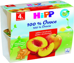 HIPP BIO ovocný príkrm Jablká s broskyňami 4x100g