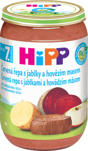 HIPP BIO červená repa s jablkami a hovädzím mäsom (220 g) - mäso-zeleninový príkrm