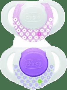 CHICCO Smoczek silikonowy,  0m+, kolor różowy, 2 szt.
