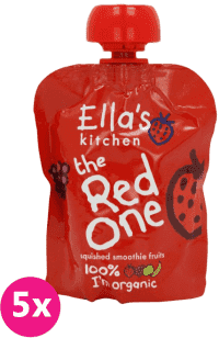 5x ELLA'S Kitchen Ovocné pyré - Jahoda (The Red One) 90g