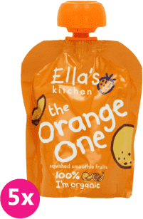 5x ELLA'S Kitchen, Ovocné pyré - Orange One (Mango) 90 g