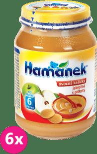 6x HAMÁNEK Kojenecká výživa ovocná kašička s bezlepkovými piškoty, (190g)