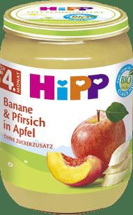 HIPP BIO Jablká s banánmi a broskyňami, 190 g