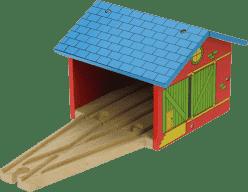BIGJIGS Drewniane kolejki – Zajezdnia dla dwóch pociągów
