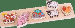 BIGJIGS Drevené široké vkladacie puzzle - Farma - hrúbka 2 cm
