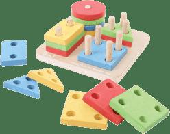 BIGJIGS Drevená motorická hračka - Nasadzovanie tvarov na tyče