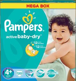 PAMPERS Active Baby 4+ MAXI PLUS 120ks (9-16 kg) MEGA Box - jednorázové pleny