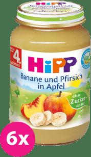 6x HIPP jablkový s banánmi a broskyňami (125 g) - ovocný príkrm
