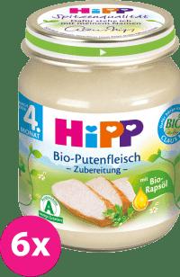 6x HIPP BIO morčacie mäso (125 g) - masový príkrm