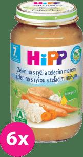 6x HIPP BIO zelenina s ryžou a teľacím mäsom (220 g) - mäso-zeleninový príkrm