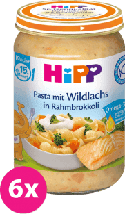 6x HIPP Těstoviny s lososem, brokolicí a smetanou (250 g) - maso-zeleninový příkrm