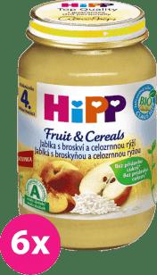6x HIPP BIO Jablka s broskví a celozrnnou rýží (190 g) - ovocný příkrm